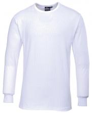 Tričko TERMO KLASIK BA / PES rebrovaný úplet dlhý rukáv okrúhly priekrčník biele