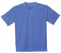 Antistatické pracovné tričko ESD BA/uhlik okrúhly priekrčník krátky rukáv štítok s normou modre