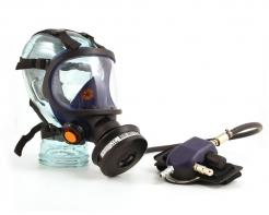 Celotvárová maska Sundström SR 200 sklenený priezor vstup na tlakový vzduch modrá