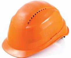 Ochranná prilba Rockman C6 HDPE 12 ventilačných otvorov látkový kríž oranžová