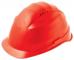Ochranná prilba Rockman C6 HDPE 12 ventilačných otvorov látkový kríž červená