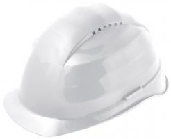 Ochranná prilba Rockman C6 HDPE 12 ventilačných otvorov látkový kríž biela