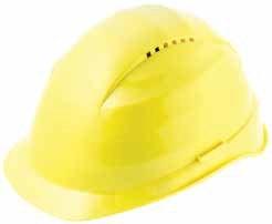 Ochranná prilba Rockman C6 HDPE 12 ventilačných otvorov látkový kríž žltá
