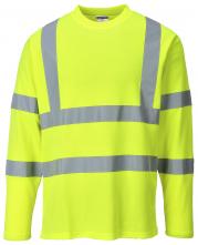Tričko Hi-Vis Cotton Comfort dlhý rukáv 2 vodorovné a zvislé reflexné pruhy HV žlté