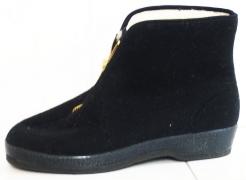 Pánska obuv KAPCE nízka na členky filcový zvršok zips na priehlavku čierna