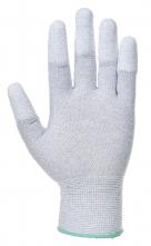 Rukavice PU Fingertip ESD pylón /uhlík/PU bezšvíkové antistatické máčané špičky prstov sivé
