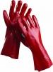 Rukavice CERVA REDSTART bavlnený úplet máčaný v PVC dĺžka 45 cm červené