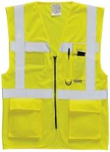 Výstražná vesta EXECUTIVE na zips s vreckami žltá veľkosť XL