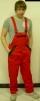 Montérkové nohavice KOLÍN náprsenkové červeno/čierne veľkosť 50