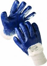 Rukavice CERVA HARRIER polomáčané v nitrile pružná manžeta modré