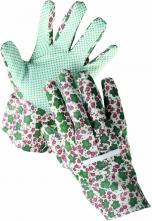 Rukavice CERVA AVOCET bavlnené povrstvené PVC terčíkmi dámske pestré