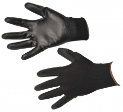 Rukavice A120 bezšvový nylonový úplet povrstvený polyuretánom čierne veľkosť L