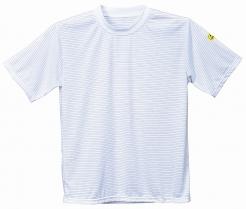 Antistatické pracovné tričko ESD okrúhly priekrčník krátky rukáv biele veľkosť XL