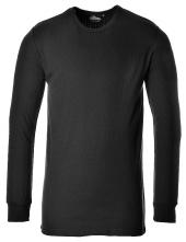 Tričko TERMO KLASIK BA/PES rebrovaný úplet dlhý rukáv okrúhly priekrčník čierne