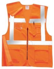Vesta Executive výstražná s vreckami vysoko viditeľná oranžová veľkosť XL