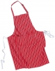 Zástera Butcher Pocket s vreckom na bruchu pruh cez krk červená s bielymi pruhmi