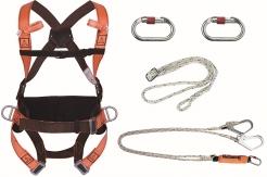 Súprava na prácu vo výške - postroj HAR14 úchytné lano tlmič s 2 lanami a hákmi a 2 karabíny