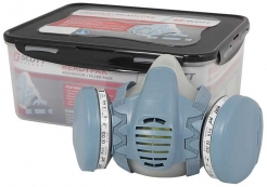 Ukladací plastový box SCOTT MINI s vekom na masku a polomasku sivý