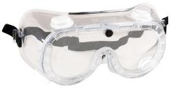 Okuliare PW21 uzavreté ochranné polykarbonátový priezor nepriamo vetrané číre