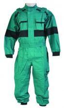 Zateplená pracovná kombinéza LUXUS vrecká krytý zips pásik v páse zeleno/čierna