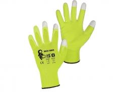 Rukavice CXS Brita Touch nylonový úplet máčaný v PU kontaktné končeky prstov pre dotykový displej žlté