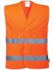 Vesta výstražná Vest-Port PES Warp Knit zapínanie na suchý zips 2 vodorovné reflexné pruhy HV oranžová