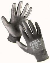 Rukavice CERVA BUNTING BLACK bezšvový nylonový úplet povrstvený polyuretánom čierne