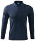 Polokošeľa Malfini Single Jersey 180 bavlna hladká dlhý rukáv 2 gombíky rebrovaný golier tmavomodrá
