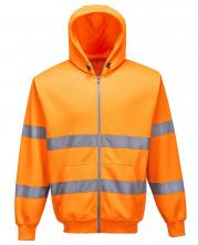Mikina PW KLOKANKA Hi-Vis ZIP s kapucňou zapínanie na zips reflexné pruhy výstražná oranžová