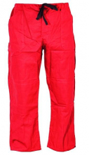 Montérkové nohavice KLASIK do pása na šnúrku bavlna červené