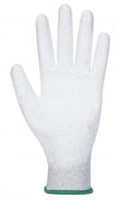 Rukavice PU Fingertip ESD pylón/uhlík/PU bezšvíkové antistatické máčaná dlaň + prsty sivé