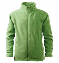 Mikina Jacket 280 detská flís antipeeling stojačik vrecká na zips trávovozelená