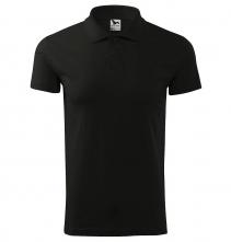 Polokošeľa Single Jersey 180 bavlna hladká krátky rukáv 2 gombíky rebrovaný golier čierna