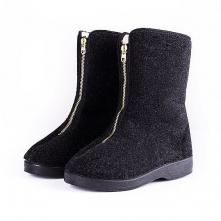 Dámska obuv Kapce vyššia nad členok filcový zvršok zips na priehlavku čierna
