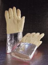Rukavice GH SAHARA S5 AL prstové teplu odolné aramidové pokovovaná manžeta 600°C dlhé 420 mm žlté