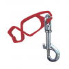 Klip KAIPU na OOPP plastový s kovovou karabínou na opasok červený