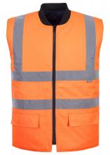 Vesta PW REVERSIBLE výstražná obojstranná zateplená PES/BA 4 reflexné pruhy HV oranžová/čierna