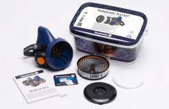 Sada polomaska Sundström Pandemic Flu Kit polomaska SR100 filter P3R D + přefiltr P čistiaci obrúsok modrá