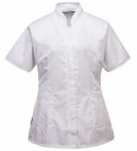 Pracovná blúzka PW Premier PES/BA dámska vydriečená krátky rukáv šikmé nízky stojačik biela