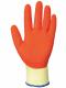 Rukavice PW GRIP A100 úplet PES/bavlna potiahnutý latexom protišmykové oderuvzdorné žlto/oranžové