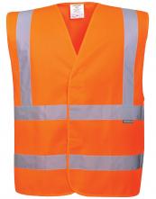 Výstražná vesta PW Two Band & Brace 2 vodorovné a 2 zvislé reflexné pruhy HV oranžová