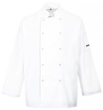 Kuchársky dvojradový rondon SUFFOLK Chefs s dlhým rukávom zapínanie na patentky biely