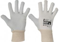 Pracovné rukavice CERVA PELICAN Plus päťprsté kombinované plátno/kozinka pružná manžeta šedo/biele