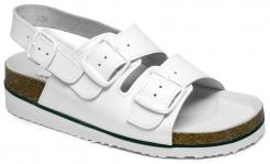 Obuv sandál dámsky MIRKA 1718 otvorený 2 pásky cez priehlavok 1 remienok cez pätu protišmyková podrážka s klinom biely