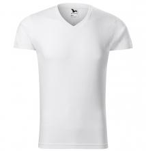 Tričko Malfini SLIM V-Neck 180 pánske bavlněné priekrčník do V krátky rukáv priliehavý strih s bočnými švami biele