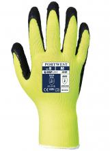 Rukavice PW HiVis Grip pletený nylon/drsná latexová pena predĺžená pružná manžeta žlto/čierne