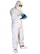 Kombinéza CHEMSPLASH Pro +4 Typ 4,5,6 jednorazova antistaticka kapucňa utesnené švy NBC biela