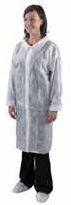 Plášť DC02 jednorazový z netkaného textilu biely veľkosť L
