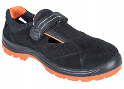 Obuv STEELITE Obra S1 sandál semiš suchý zips pevná päta bezpečnostné špica vetranie čierno/oranžová