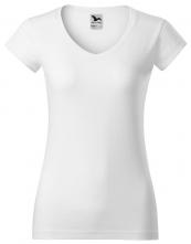 Tričko Fit V-Neck 180 dámske vypasované priekrčník do V krátky rukáv biele